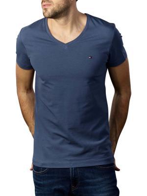 Tommy Hilfiger Stretch T-Shirt Slim V Neck faded indigo