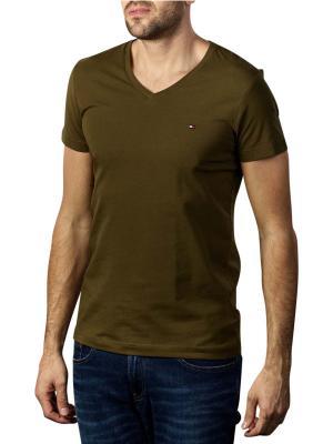 Tommy Hilfiger Stretch T-Shirt Slim V Neck dark olive