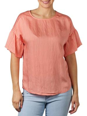 Yaya Printed Top Ruffled Sleeve sheer pink