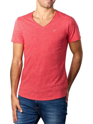 Tommy Jeans T-Shirt Slim Jaspe V Neck deep crimson