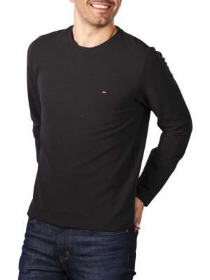 Tommy Hilfiger Waffle Long Sleeve T-Shirt black