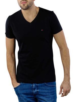 Tommy Hilfiger Core Stretch Slim V-Neck T-Shirt flag black