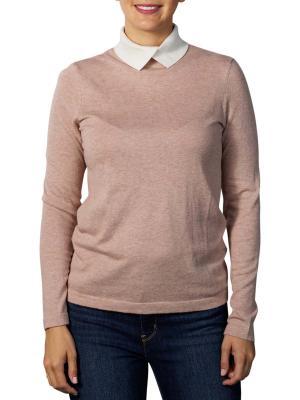 Yaya Contrast Collar Sweater faded pink melange