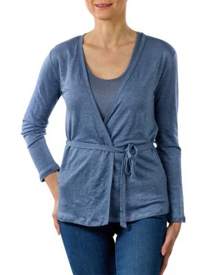 Yaya Linen Cardigan With Singlet washed indigo blue