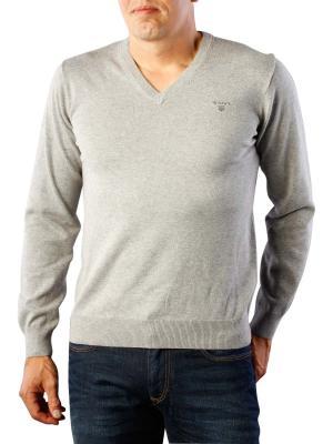 Gant Light Weight Cotton V-Neck grey melange