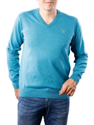 Gant Cotton Wool V-Neck ink blue melange