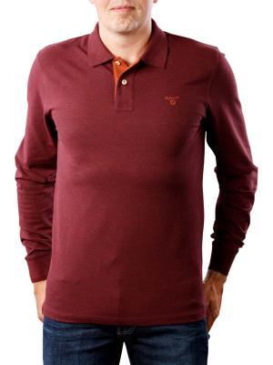 Gant Contrast Collar Pique LS dark burgundy melange