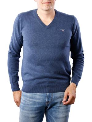 Gant Cotton Wool V-Neck dark jeansblue melange