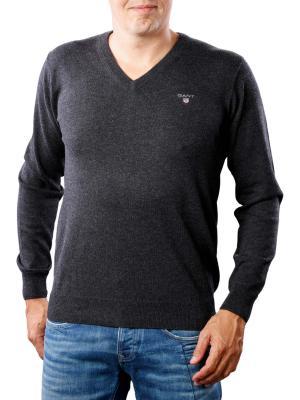 Gant Cotton Wool V-Neck dark charcoal melange