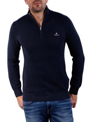 Gant Cotton Pique Half Zip evening blue