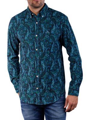 Gant D2 Babycord Paisley Print Reg BD Polo seafoam blue