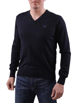 Gant Light Weight Cotton V-Neck dark denim