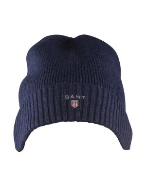 Gant Cotton Knit Beanie With Fleece dark indigo melange
