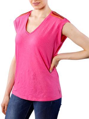 Maison Scotch Linen T-Shirt flamingo