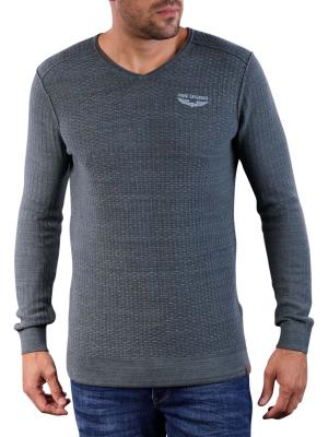 PME Legend V-Neck Cotton Mouline Knit dark green