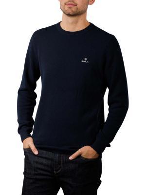 Gant Cotton Pique Pullover Crew Neck evening blue