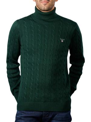 Gant Cotton Cable Pullover Turtle Neck tartan green
