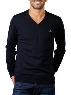 Gant Cotton Pique Pullover V-Neck evening blue