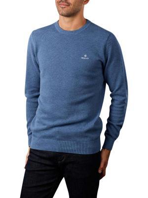 Gant Cotton Pique Pullover Crew Neck denim blue mel
