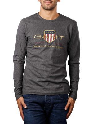 Gant Archive Shield T-Shirt Longsleeve antracit melange