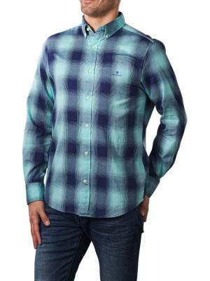Gant Oxford Plaid Shirt aqua sky