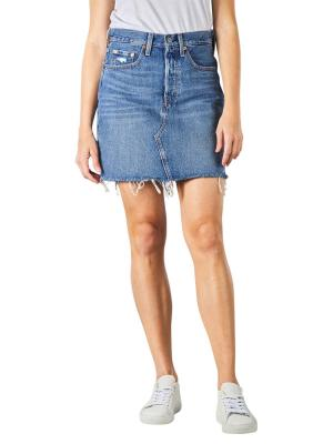 Levi's High Rise Deconstructed Buttin Fly Skirt stuck into