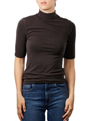 Yaya Rib Top Shirt High Neck black