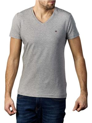 Tommy Hilfiger Stretch T-Shirt Slim V Neck medium grey