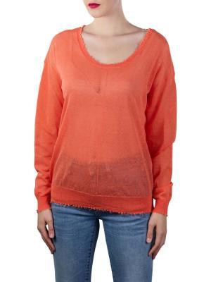 Yaya Wide Neck Linen Sweater With R papaya