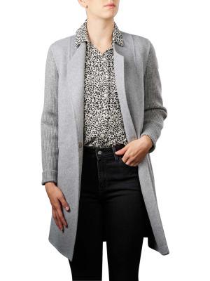 Yaya Jacket Coatigan with knitted sleeves light grey melange