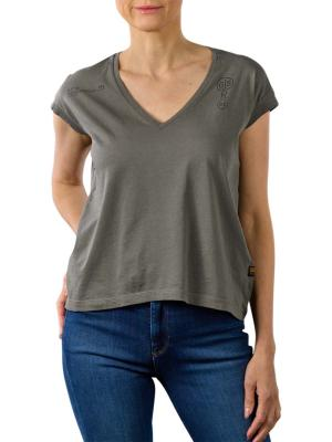G-Star Backprint Loose V-Neck Top gs grey