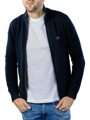 Gant Cotton Pique Zip Cardigan evening blue