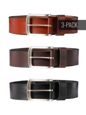 Frank cognac/dark brown/black 40mm Trio by BASIC BELTS