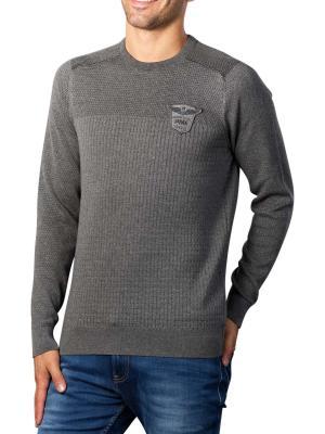 PME Legend Crewneck Cotton Plated Sweater mid grey