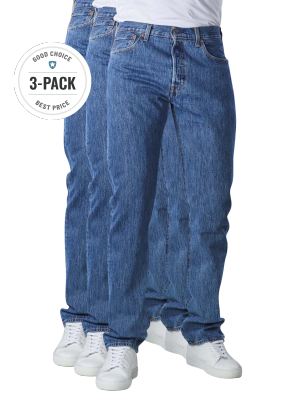 Levi's 501 Jeans Straight Fit stonewash 3-Pack