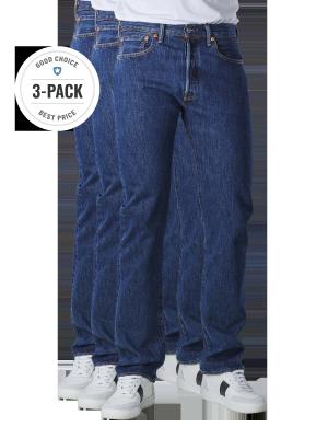 Levi's 501 Jeans Straight Fit dark stonewash 3-Pack