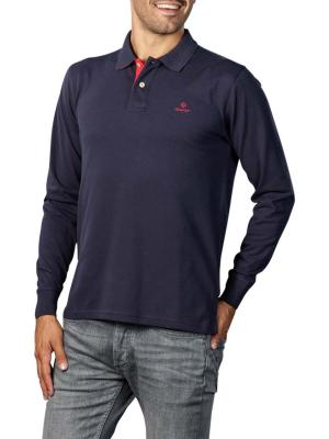 Gant Contrast Collar Pique LS Rugger Polo evening blue