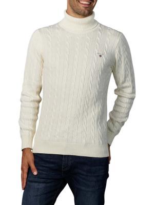 Gant Cotton Cable Tutrle Neck Pullover cream