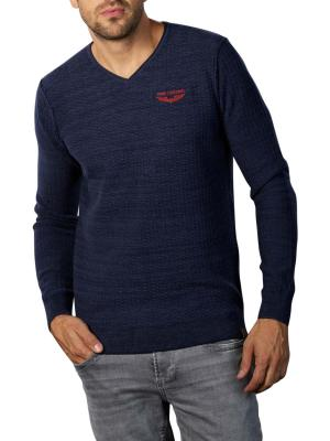 PME Legend V-Neck Cotton Mouline Knit black