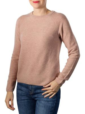 Mix Ribbed Round Neck Sweater faded pink melange