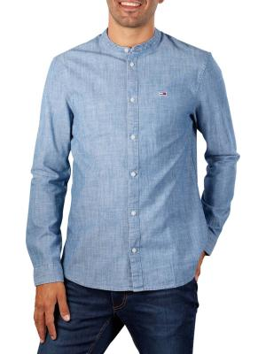 Tommy Jeans Chambray Mao Shirt mid indigo
