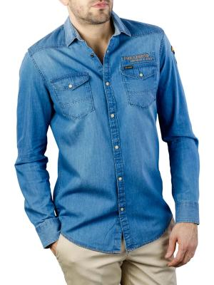 PME Legend Long Sleeve Shirt Denim Fabric with Badges