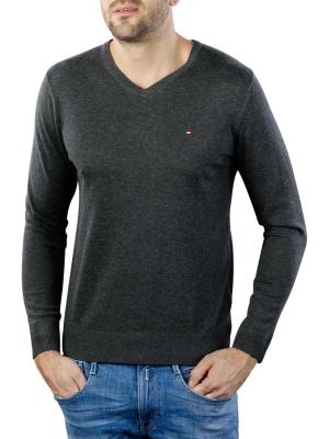 Tommy Hilfiger Core Cotton Silk V-Neck Pullover charcoal htr