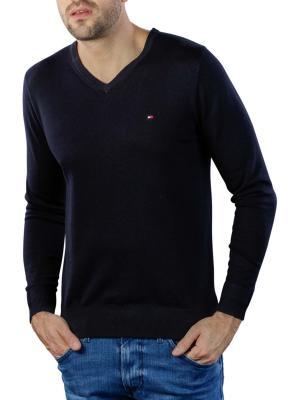 Tommy Hilfiger Core Cotton Silk V-Neck Pullover sky captain