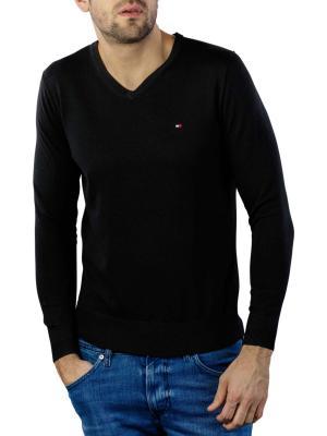 Tommy Hilfiger Core Cotton Silk V-Neck Pullover flag black