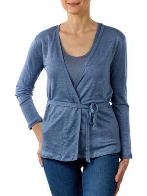 Yaya Linen Cardigan With Singlet washed indigo blue