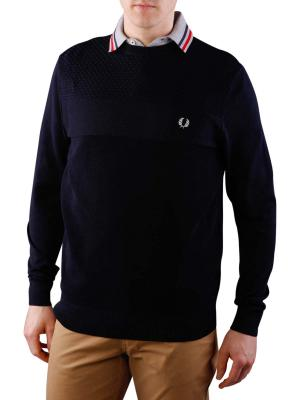 Fred Perry Texture Mix Crew Neck navy
