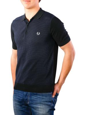 Fred Perry Two Colour Knitted Shirt black