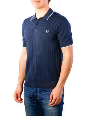 Fred Perry Two Colour Knitted Shirt deep carbon