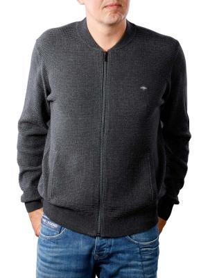 Fynch-Hatton Cardigan 2 Tone Structure charcoal ashgrey